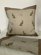 "16 x 16"" Cushion Cover Fryetts Hartley Hare Natural Brown Beige with Sanderson"