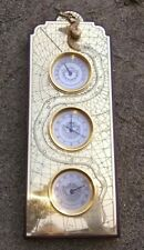 Tnc Weather Station Wooden Thermometer Chronometer Hygrometer w/snake