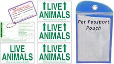 Live Animal Sticker Label Set of 5 w/ Pet Passport Pouch BLUE