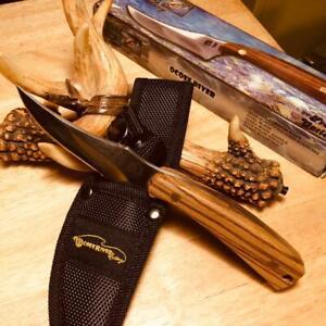 "Frost Ocoee River Skinner Zebra Wood 7"" Hunting Knife w/Sheath  FOC534ZW"