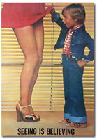 """Seeing Is Believing Little Boy Woman's Skirt Refrigerator Magnets 2.5/"""" x 3.5/"""""""