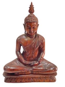 Wooden Lord Buddha Statue HAND CARVED Home Decor Natural MAHOGANI WOOD 100%
