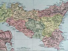 1875 Sicily Framed Original Antique Map Italy Vintage Wall Map