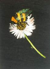 """ACEO Original """"Bumblebee and Daisy"""" Silk Hand Embroidery - A Lobban"""