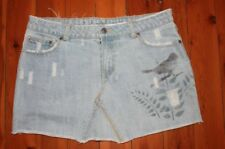 G Star Jeans Distressed Denim Skirt with Bird & Butterfly Size 10