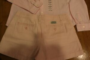 POLO Ralph Lauren Girls long sleeve pink striped shirt and shorts set Size 14-16