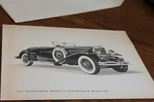 1929 Duesenberg Model J Murphy Convertible Roadster print, w/ specs, nice