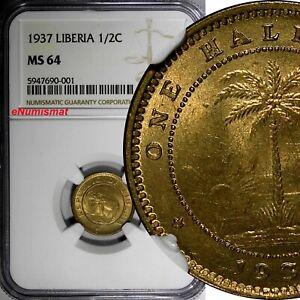 Liberia Brass 1937 1/2 Cent NGC MS64 African Elephant NICE BU KM# 10 (001)