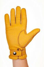 Peccary Leather Gloves Winter Gloves with cashmere lining for men's