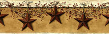 New Primitive Country BURGUNDY BARN STAR BERRY VINE PEG RACK Wallpaper Border