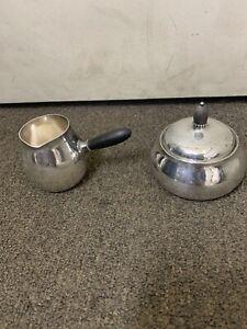 Georg Jensen sterling Sugar Bowl/creamer #80 C hammered silver Denmark RARE