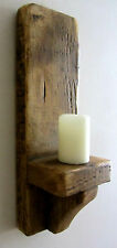 39CM RUSTIC SOLID WOOD HANDMADE SHABBY CHIC WALL SCONCE CANDLE HOLDER