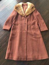 VIntage Printzess Fashion Women's Wool Fox Fur Coat Brick Red USA Made Medium
