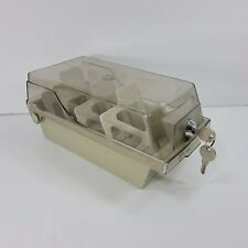Vintage Floppy Disk Storage Box with Keys Plastic Container Dividers Clear Lid