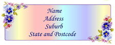 30 Personalised Quality Plus Adhesive Address Labels - Rainbow Pansies