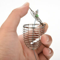 2Pcs Bait Cage Fishing Trap Basket Feeder Holders Stainless Steel Wire Coarse SP