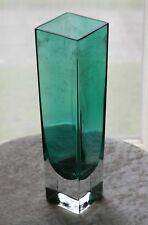 VINTAGE MURANO SOMMERSO ITALIAN ART GLASS CASED GREEN VASE