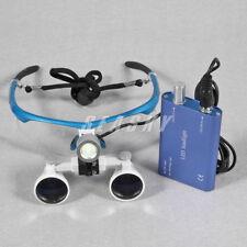 Gafas Binoculares Lupa para Dental 3,5 X R con Luz LED Frontal Head Light Blue
