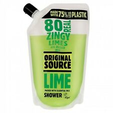 4 X Original Source Zesty Lime Shower GEL Pouch 500ml With Essential Oils