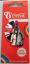 London 2012 Olimpiadi Coca Cola Big Ben & Union Flag Coke Bottle Logo Pin GINNASTA