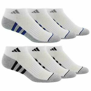 Adidas Men's 6-pair Low Cut Socks Climalite White Shoe Size 6-12 GOLF