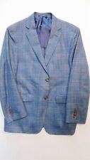 Lauren RALPH LAUREN Men's 38S SPORT COAT Silk Wool Linen TARTAN PLAID Blue