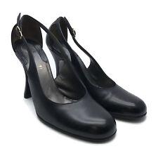 GIANNI VERSACE Women's Open Side Buckle Black Round Toe Heels Pumps Size 35-1/2