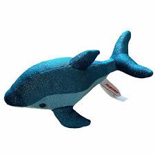 """Aurora World Dolphin 9"""" Plush Sparkle Blue Swirls Stuff Animal Toy"""