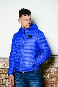 Temple of Vendora Men's Hooded Quilted Puffer Jacket Blue SIZE L - 2XL