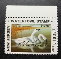 WTDstamps - 2001 NEW JERSEY - State Duck Stamp - Mint OG NH **ARTIST SIGNED**