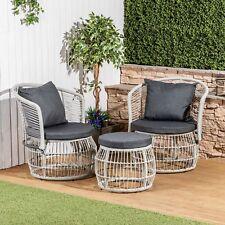 Morocco 3 Piece Rattan Garden Bistro Set with Cushions