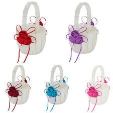 FP- Wedding Bridal Boy Ribbon Satin Faux Rose Flower Girl Basket Party Decor Eag