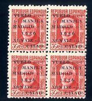 Sellos de España 1936 nº 741 Vuelo Manila-Madrid Bloque de cuatro Nuevo