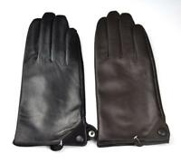 Men's Genuine Sheep Leather Full Touch Screen Wrist Driving Gloves Black Brown