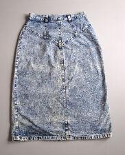 "Vintage High Waist Denim Jean Pencil Skirt Blue Acid Wash 10 Blue 26"""