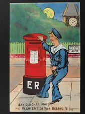 Postman MILITARY DRUNKEN SAILOR SPEAKS PILLAR BOX c1908 Postcard