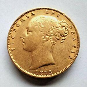 Scarce. Queen Victoria Shield Back Sovereign 1872M Melbourne. Gold 7.98 grams.