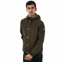 Mens Weekend Offender Holkham Polar Lined Jacket In Green- Zip Fastening- Popper