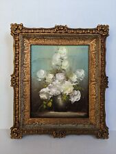 """Vintage Floral Oil Painting Faux Wood Frame White Roses  8"""" x 10"""" Signed Rush"""