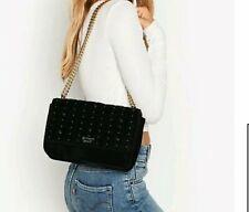 Victoria Secret Velvet Stud Bond Street Shoulder Bag BLACK