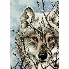 PATTERN ONLY - NO MATERIALS: WOLF (SNOW BACKGROUND) - COUNTED CROSS STITCH
