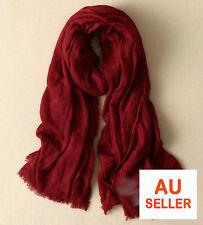 Soft Cotton Linen Blanket Scarf Burgundy Wrap Shawl Vintage Red Maroon Winter