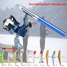 Mini Pen Fishing Tackle Rod Portable Aluminum Telescopic Pole Reel+Fishing Lure