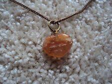 COLLIER pendentif pierre coeur orange