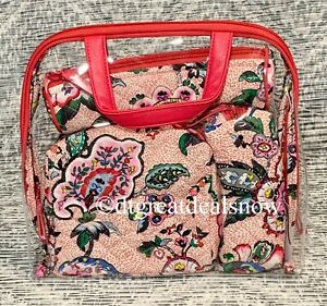 Vera Bradley Iconic 4 Piece Cosmetic Set Organizer Makeup Bags Stitched Flowers
