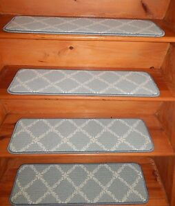 """13 = STEP  9"""" X 30"""" + Landing 28"""" x 30"""" Stair Treads Staircase WOVEN CARPET ."""
