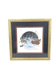 D Morgan Signed Framed Christmas Art Jack Frost Nipping At Your Nose vintage 94