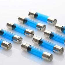 10 x Fuse Lamp 8V 300mA 2,4W 6x30mm / Lampen Pilotlampen Lamps BLUE / BLAU