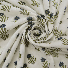 Hand Block Floral Printed Indian 100% Cotton Voile Fabric Sewing 2.5 Yard Crafts