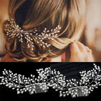 Luxury Vintage Bride Hair Accessories Handmade Pearl Wedding Jewelry Comb KRFS